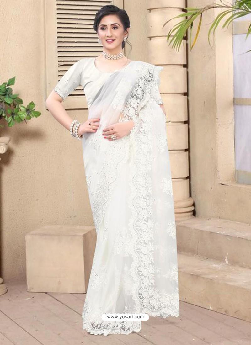 White Mesmeric Designer Party Wear Net Sari
