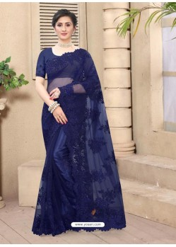 Royal Blue Mesmeric Designer Party Wear Net Sari