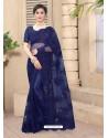Royal Blue Mesmeric Designer Party Wear Net Sari