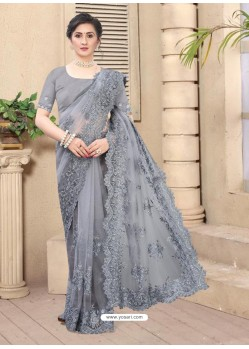 Grey Mesmeric Designer Party Wear Net Sari