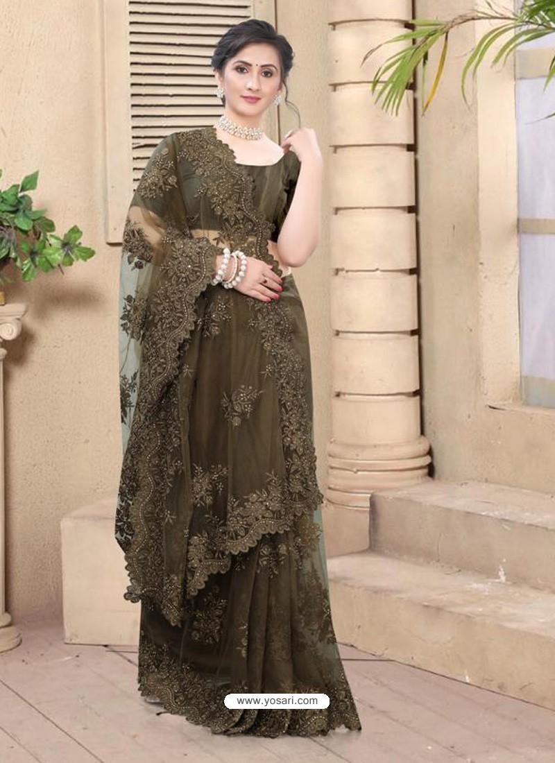 Coffee Mesmeric Designer Party Wear Net Sari