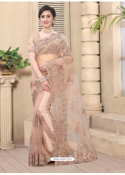 Light Beige Mesmeric Designer Party Wear Net Sari