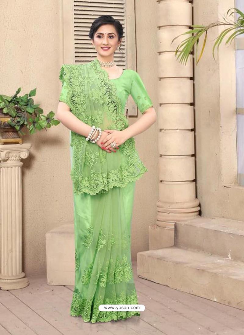 Green Mesmeric Designer Party Wear Net Sari