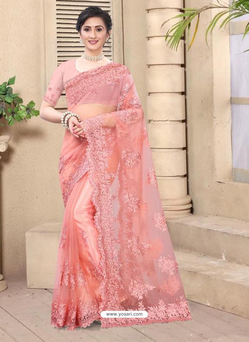 Light Red Mesmeric Designer Party Wear Net Sari