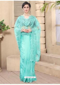 Firozi Mesmeric Designer Party Wear Net Sari