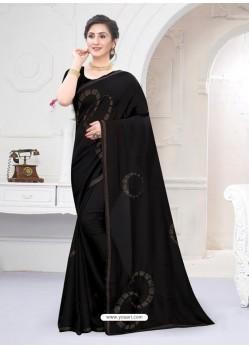 Black Fabulous Designer Party Wear Satin Sari