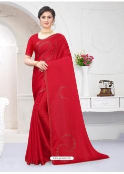 Red Fabulous Designer Party Wear Satin Sari