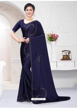 Navy Blue Fabulous Designer Party Wear Satin Sari
