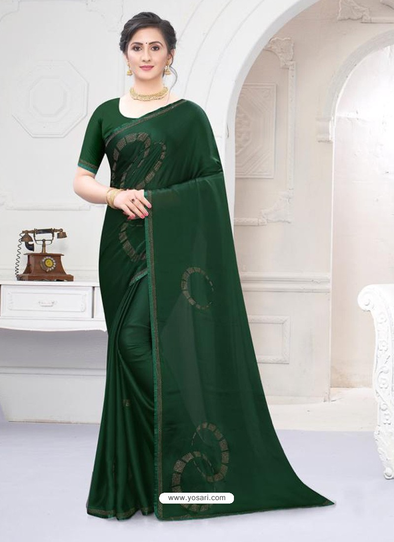 Dark Green Fabulous Designer Party Wear Satin Sari