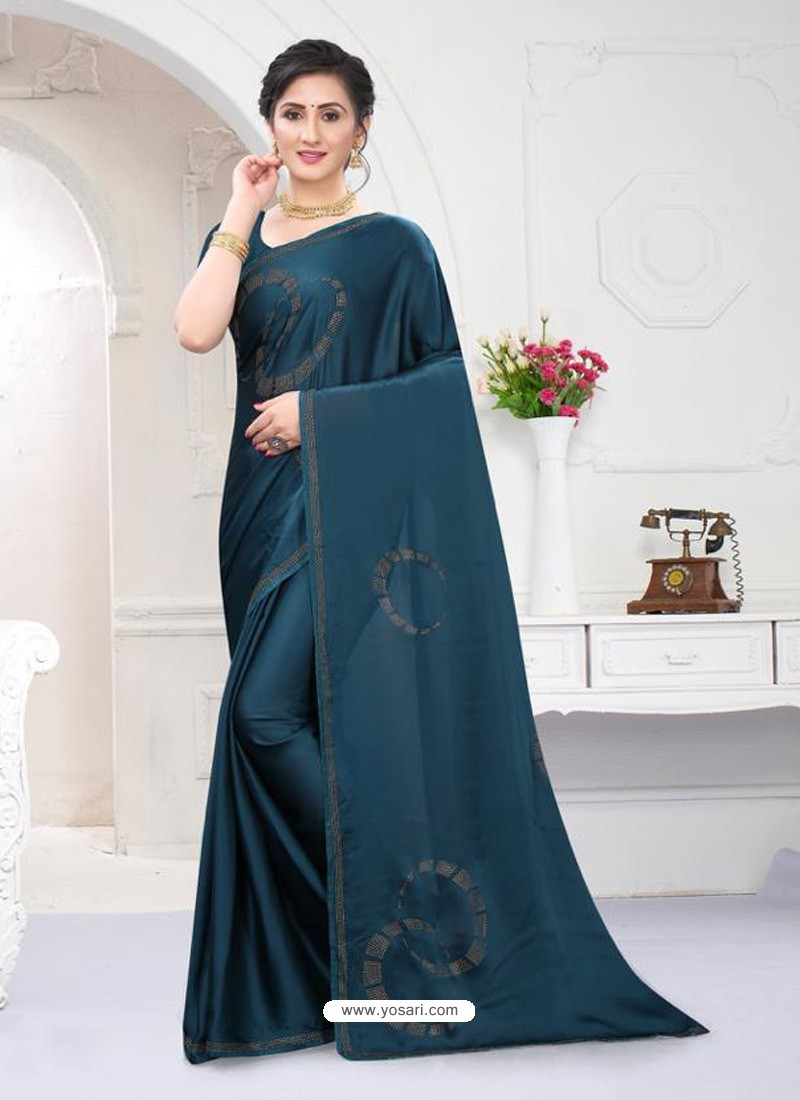 Teal Blue Fabulous Designer Party Wear Satin Sari