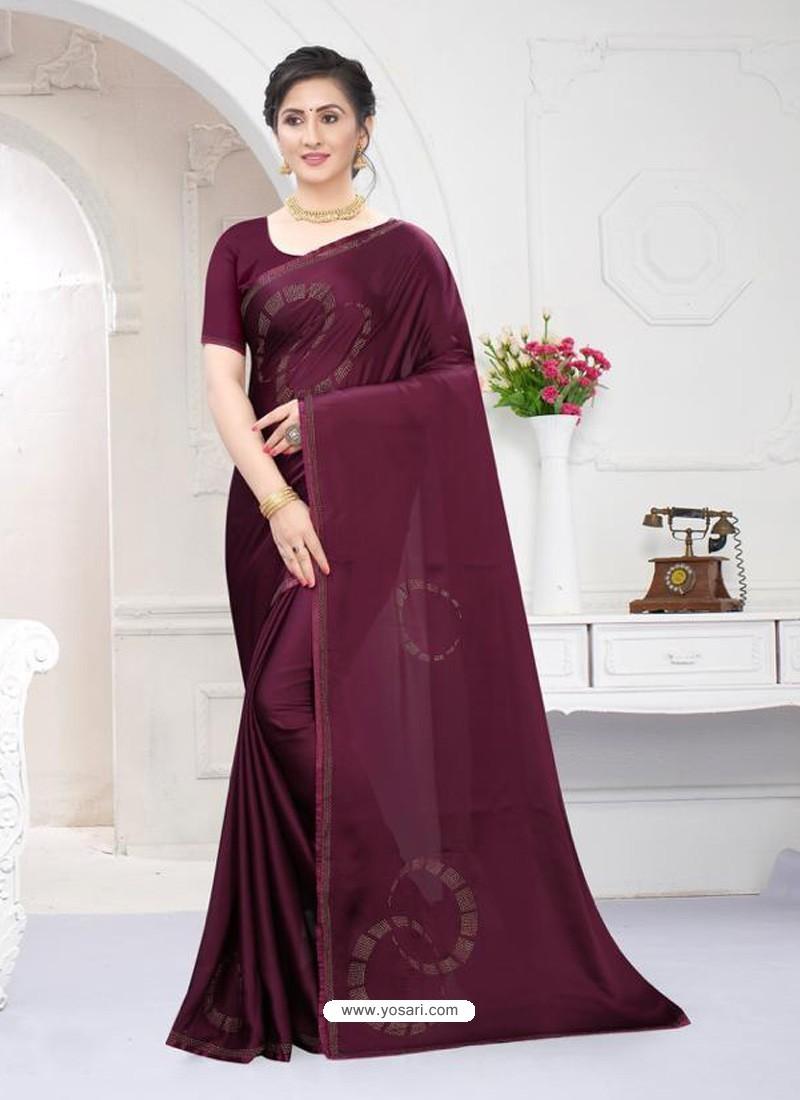 Deep Wine Fabulous Designer Party Wear Satin Sari