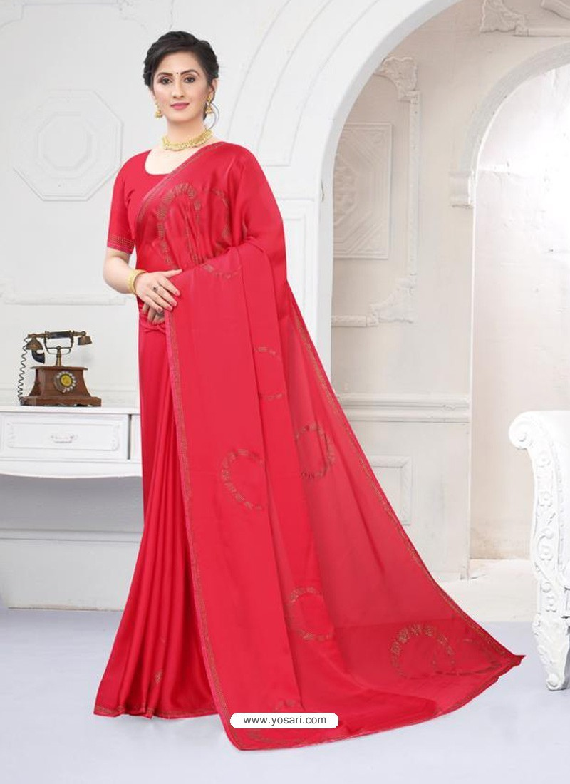 Dark Peach Fabulous Designer Party Wear Satin Sari