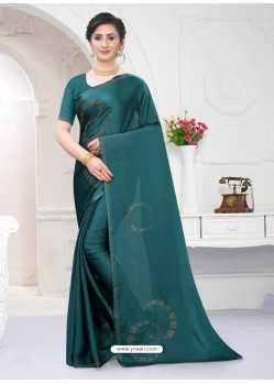 Teal Fabulous Designer Party Wear Satin Sari