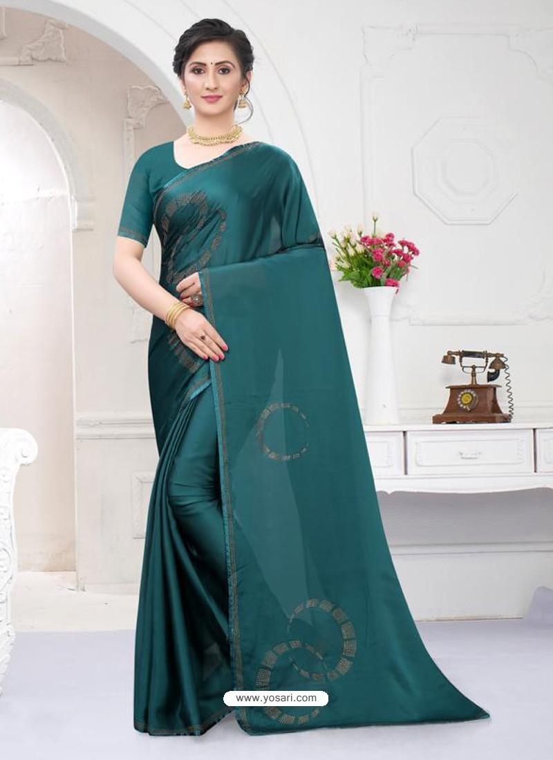 Teal Fabulous Designer Party Wear Satin Sari