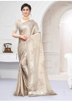 Off White Fabulous Designer Party Wear Satin Sari
