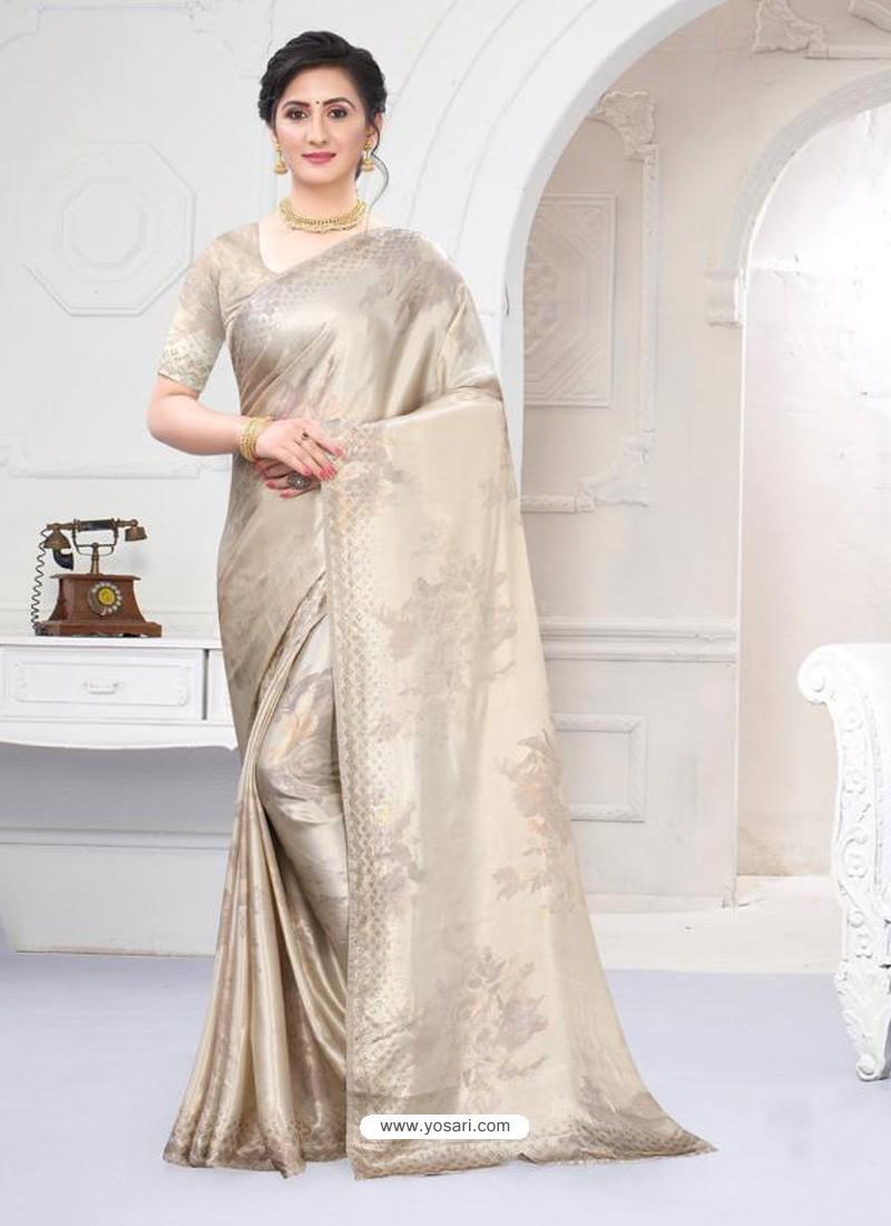 Off White Fabulous Designer Party Wear Satin Sari