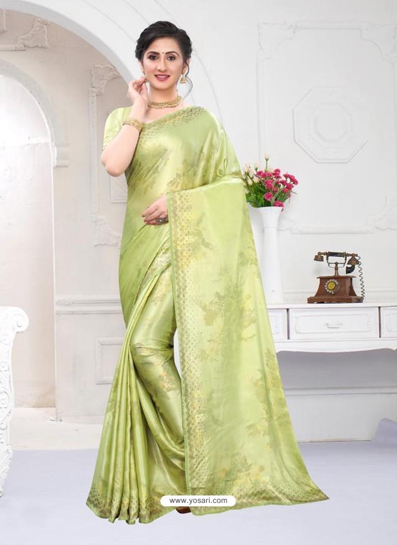 Green Fabulous Designer Party Wear Satin Sari