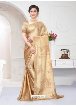 Beige Fabulous Designer Party Wear Satin Sari