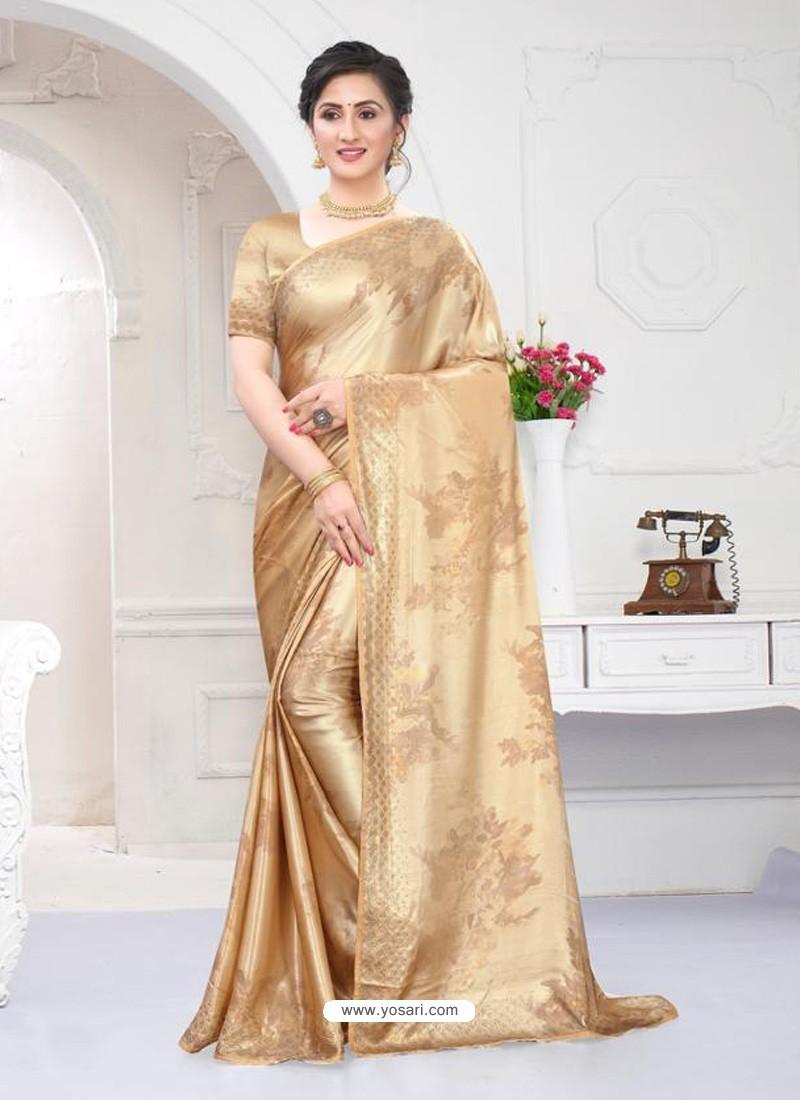 Beige Fabulous Designer Party Wear Satin Sari