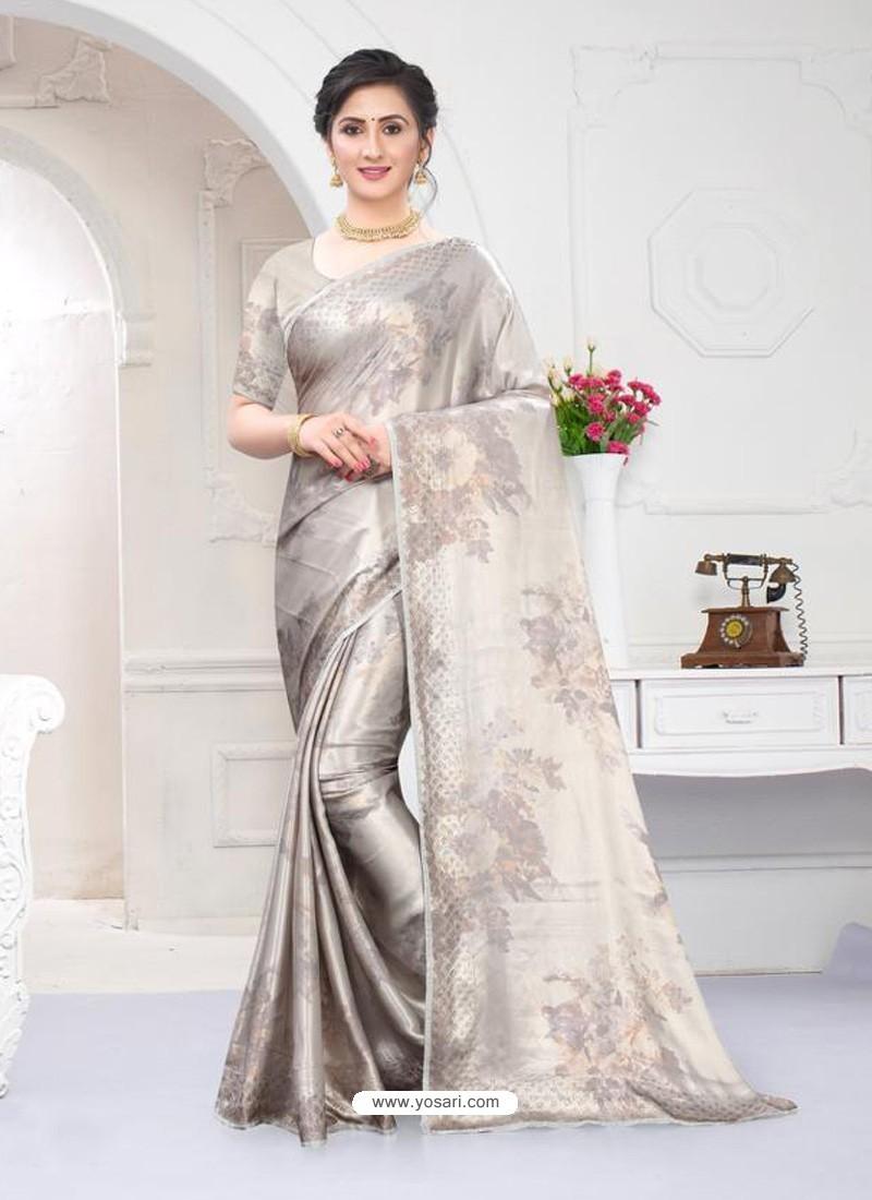 Silver Fabulous Designer Party Wear Satin Sari