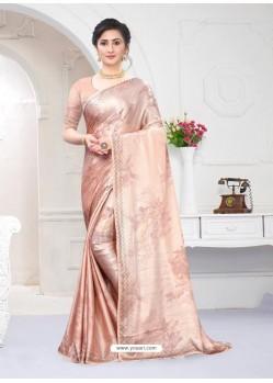 Light Beige Fabulous Designer Party Wear Satin Sari