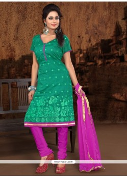 Glorious Embroidered Work Sea Green Chanderi Cotton Churidar Designer Suit