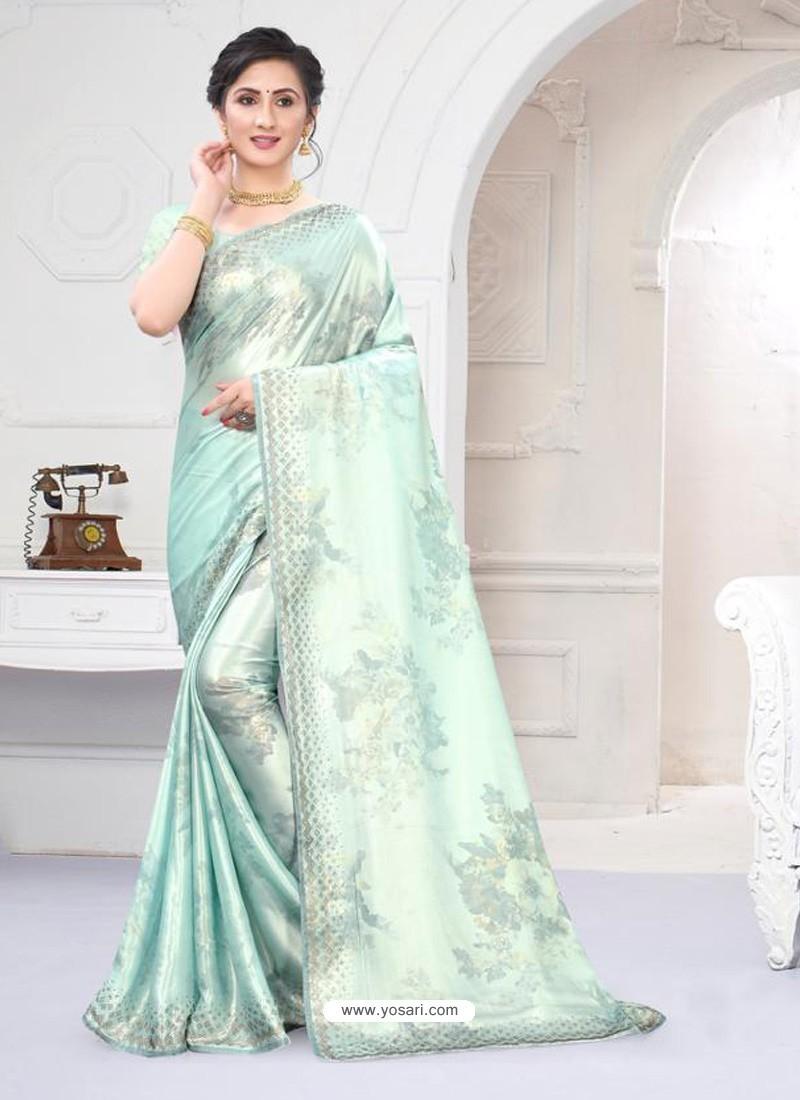 Sky Blue Fabulous Designer Party Wear Satin Sari