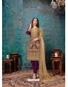 Purple Designer Embroidered Faux Georgette Party Wear Wedding Suit