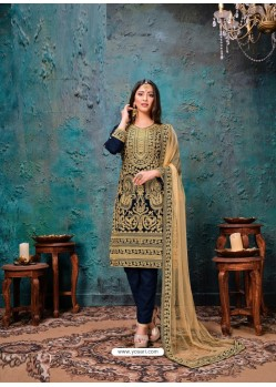 Navy Blue Designer Embroidered Faux Georgette Party Wear Wedding Suit