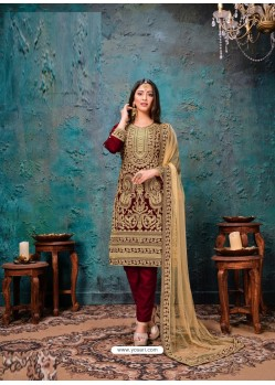 Maroon Designer Embroidered Faux Georgette Party Wear Wedding Suit