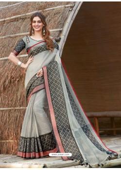 Light Grey Mesmeric Designer Classic Wear Linen Sari