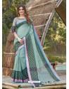 Sky Blue Mesmeric Designer Classic Wear Linen Sari