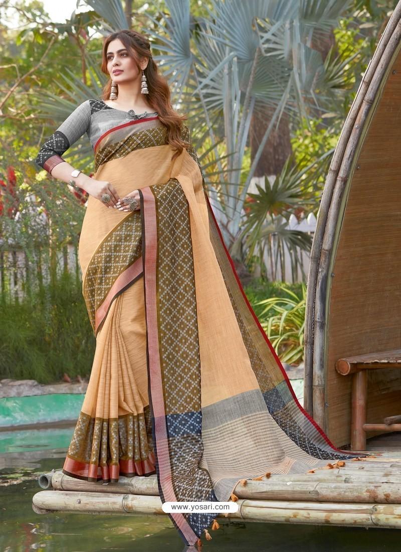 Light Orange Mesmeric Designer Classic Wear Linen Sari