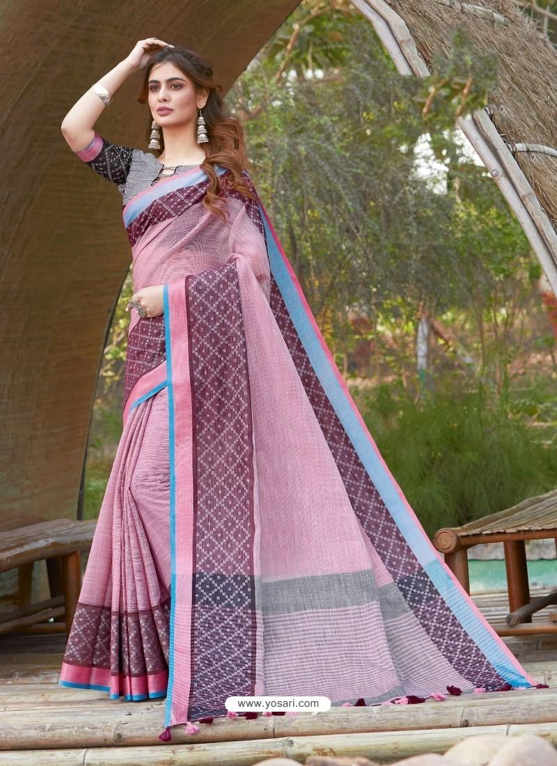 Dusty Pink Mesmeric Designer Classic Wear Linen Sari