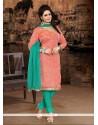 Spellbinding Chanderi Cotton Embroidered Work Churidar Designer Suit