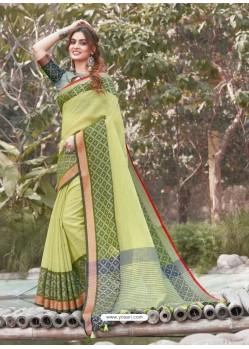 Green Mesmeric Designer Classic Wear Linen Sari