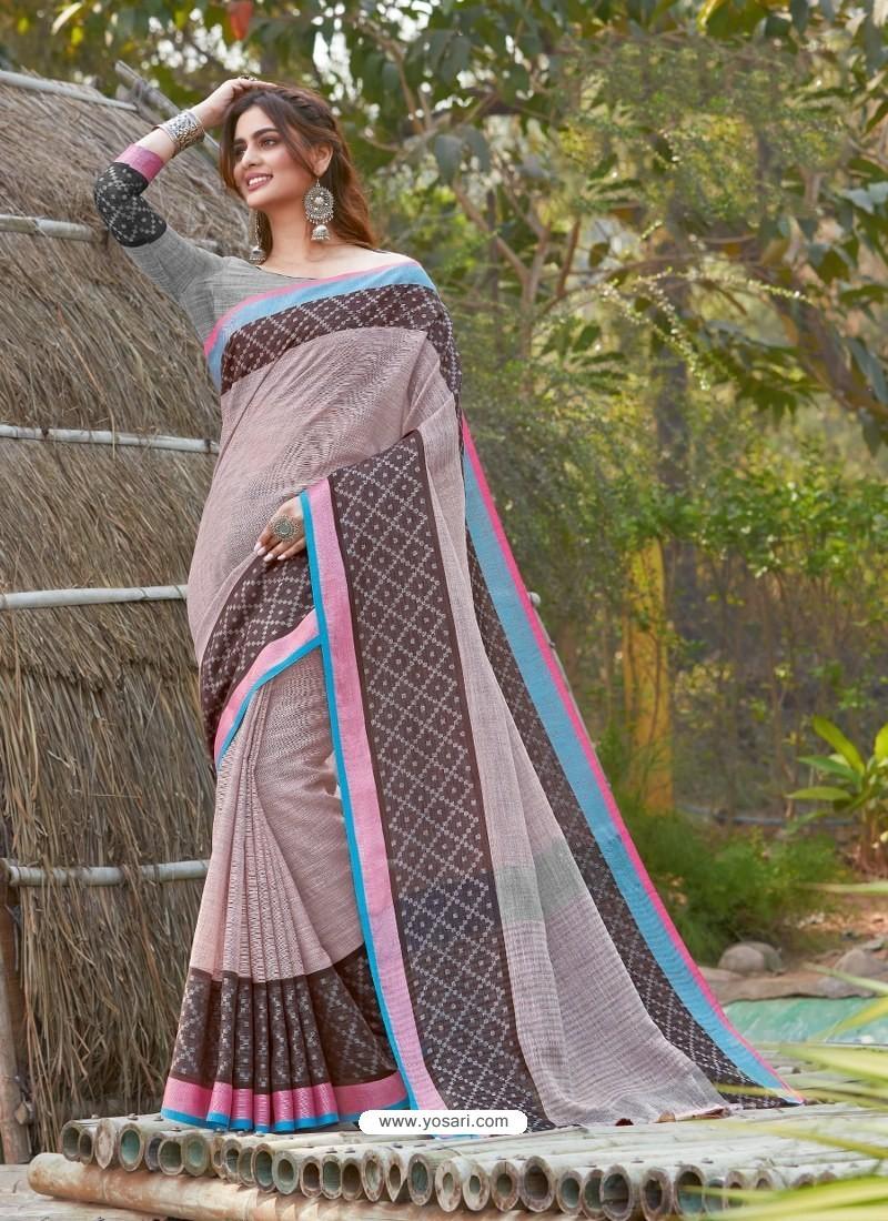 Baby Pink Mesmeric Designer Classic Wear Linen Sari