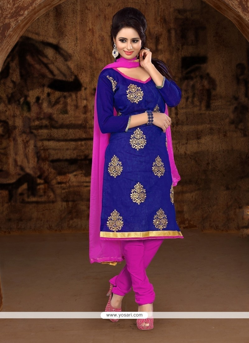 Beautiful Chanderi Cotton Churidar Designer Suit
