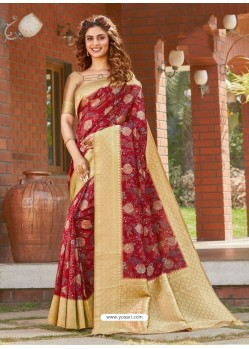 Maroon Latest Designer Party Wear Silk Sari