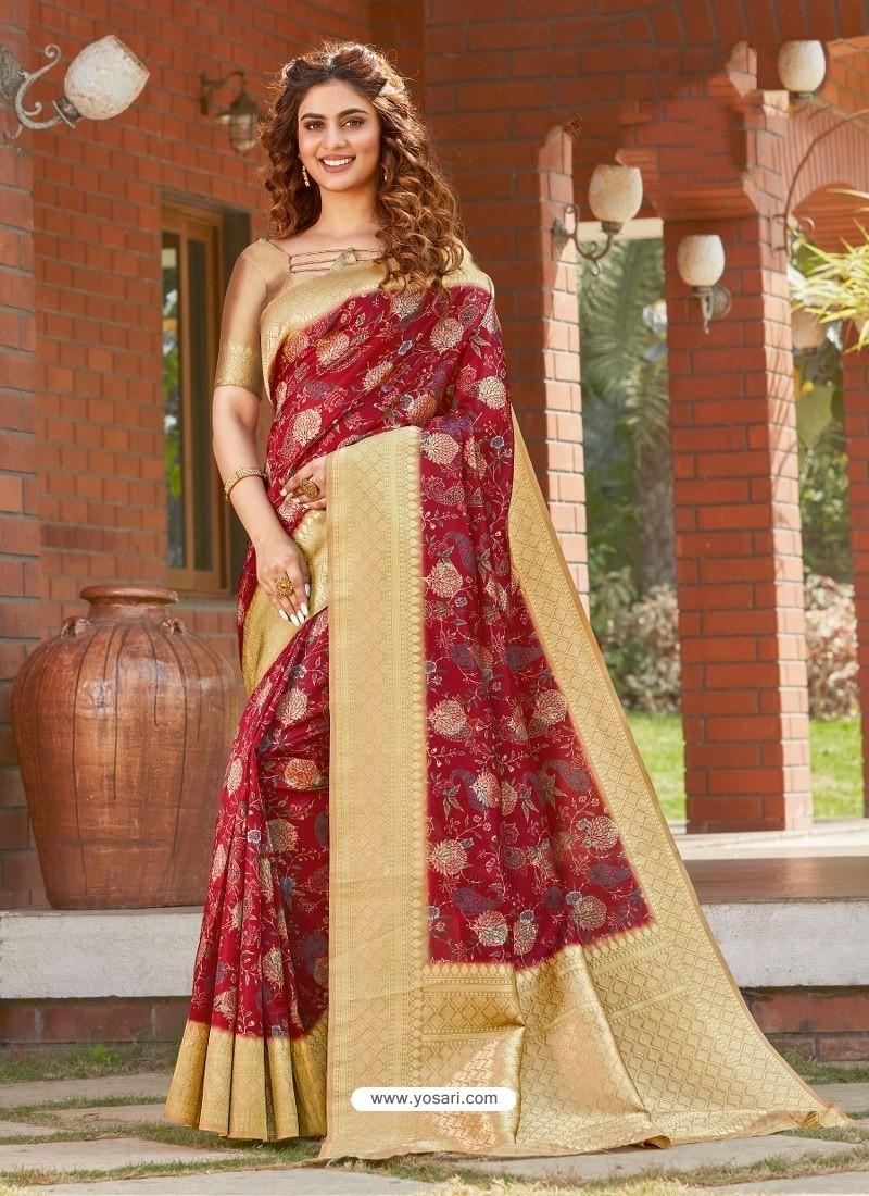 Maroon Latest Designer Party Wear Silk Sari