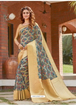 Blue Latest Designer Party Wear Silk Sari