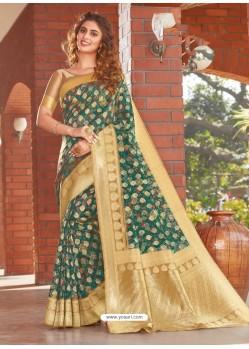 Dark Green Latest Designer Party Wear Silk Sari
