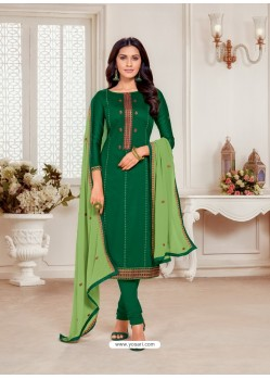 Dark Green Designer Jam Silk Cotton Churidar Salwar Suit