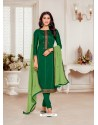 Dark Green Designer Jam Silk Cotton Churidar Salwar Suit