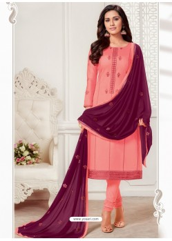 Light Red Designer Jam Silk Cotton Churidar Salwar Suit