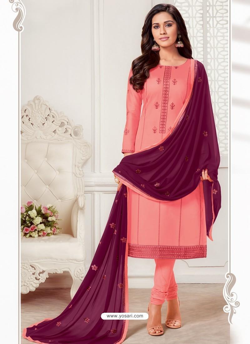 Light Red Designer Jam Silk Cotton Churidar Salwar Suit