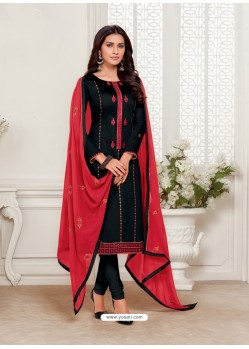 Black Designer Jam Silk Cotton Churidar Salwar Suit