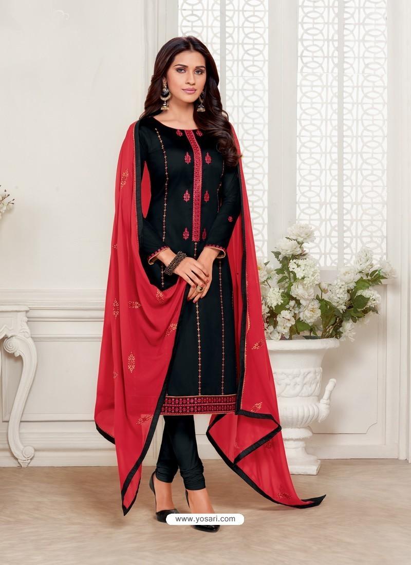 Black Designer Jam Silk Cotton Churidar Salwar Suit