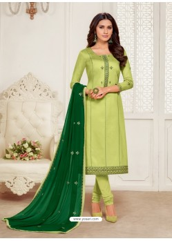 Green Designer Jam Silk Cotton Churidar Salwar Suit