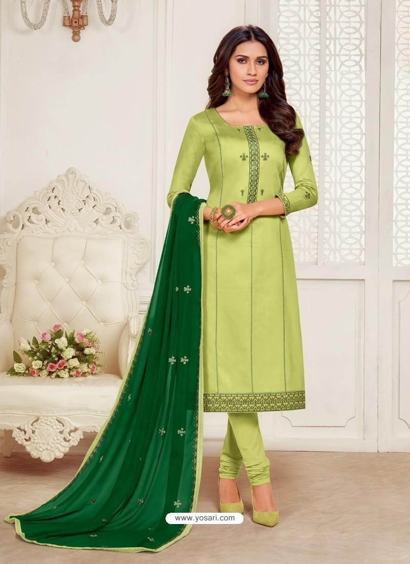 Green Designer Jam Silk Cotton Churidar Salwar Suit